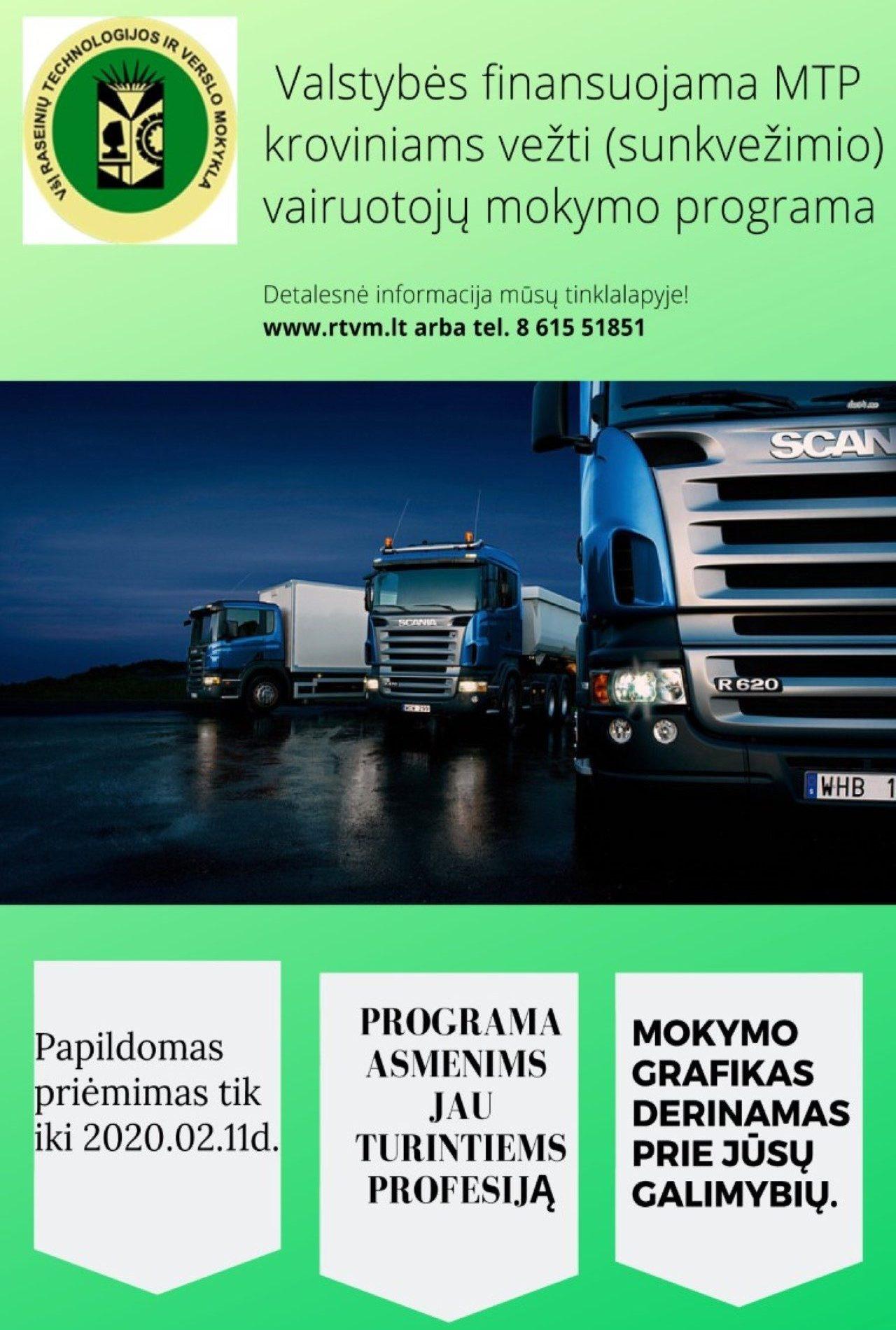 Valstybės finansuojama MTP kroviniams vežti (sunkvežimio) vairuotojų mokymo programa – kopija